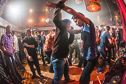 Students defending at the IKMS 'In The Club' seminar with KMG Global Team Instructor and Expert Level 5, Tommy Blom, at the Buff Club in Glasgow's City Centre. Bringing Krav Maga training out with the confines of the gym into a real nightclub/bar.<br /> © Michael Schofield.