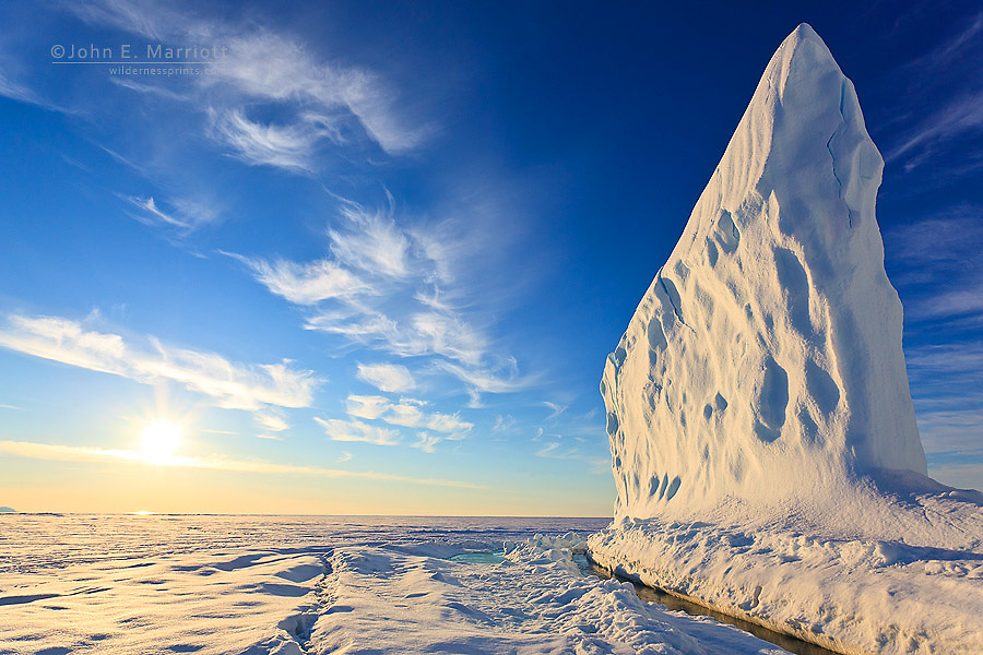 Iceberg in Baffin Bay on the Arctic Ocean, north of Baffin Island, Nunavut, Canada in the Canadian Arctic