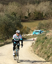March 8, 2019 - Siena, Italy - Kazakh Alexey Lutsenko of Astana Pro Team pictured during a training ahead of the Strade Bianche one day cycling race in Siena, Italy, Friday 08 March 2019...BELGA PHOTO ANN BRAECKMAN (Credit Image: © Ann Braeckman/Belga via ZUMA Press)