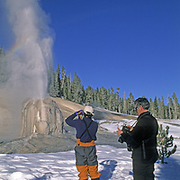 YELLOWSTONE NATIONAL PARK, WY. Cross country skiers (MR) photograph Lone Star Geyser