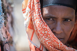 27 January 2019, Burka Dare IDP site, near Micha, Seweyna woreda, Bale Zone, Oromia, Ethiopia: Halima Ismael is one of many Oromo internally displaced people living in the Burka Dare IDP site. The Lutheran World Federation supports internally displaced people in several regions of Ethiopia, through emergency response on water, sanitation and hygiene (WASH) as well as long-term development and empowerment projects, to help build resilience and adapt communities' lifestyles to a changing climate.