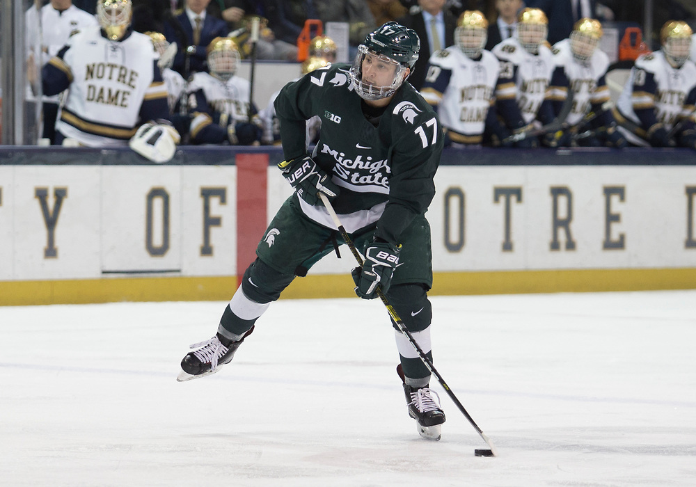January 25, 2019:  Michigan State forward Taro Hirose (17) skates with the puck during NCAA Hockey game action between the Michigan State Spartans and the Notre Dame Fighting Irish at Compton Family Ice Arena in South Bend, Indiana.  Notre Dame defeated Michigan State 6-3.  John Mersits/CSM