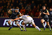 Sale Sharks George Nott runs at Exeter Chiefs Tomas Francis during the The Aviva Premiership match Sale Sharks -V- Exeter Chiefs  at The AJ Bell Stadium, Salford, Greater Manchester, England on Friday, October 27, 2017. (Steve Flynn/Image of Sport)