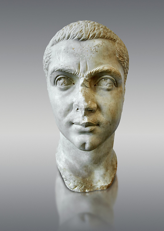 Roman sculpture bust of  Gordian III made between 238 and 244 AD and excavated from Ostia. At the age of 13, he became the youngest sole legal Roman emperor throughout the existence of the united Roman Empire. Gordian was the son of Antonia Gordiana and an unnamed Roman Senator who died before 238. When the Persians under Shapur I invaded Mesopotamia, the young emperor opened the doors of the Temple of Janus for the last time in Roman history, and sent a large army to the East. The Sassanids were driven back over the Euphrates and defeated in the Battle of Resaena (243AD). In the beginning of 244, the Persians counter-attacked. Persian sources claim that a battle was fought (Battle of Misiche) near modern Fallujah (Iraq) and resulted in a major Roman defeat and the death of Gordian III. The National Roman Museum, Rome, Italy .<br /> <br /> If you prefer to buy from our ALAMY PHOTO LIBRARY  Collection visit : https://www.alamy.com/portfolio/paul-williams-funkystock/roman-museum-rome-sculpture.html<br /> <br /> Visit our ROMAN ART & HISTORIC SITES PHOTO COLLECTIONS for more photos to download or buy as wall art prints https://funkystock.photoshelter.com/gallery-collection/The-Romans-Art-Artefacts-Antiquities-Historic-Sites-Pictures-Images/C0000r2uLJJo9_s0