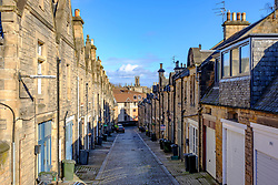 View of Mews houses on narrow street at Rothesay Mews in Edinburgh, Scotland, UK