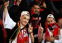 Albania fans in the stands before kick off during the UEFA Nations League, League C Group one match at Hampden park, Glasgow.