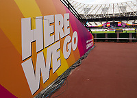 Athletics - 2017 IAAF London World Athletics Championships - Day One<br /> <br /> Branding inside the London Stadium as it prepares to host the IAAF World Championships.<br /> <br /> <br /> COLORSPORT/DANIEL BEARHAM
