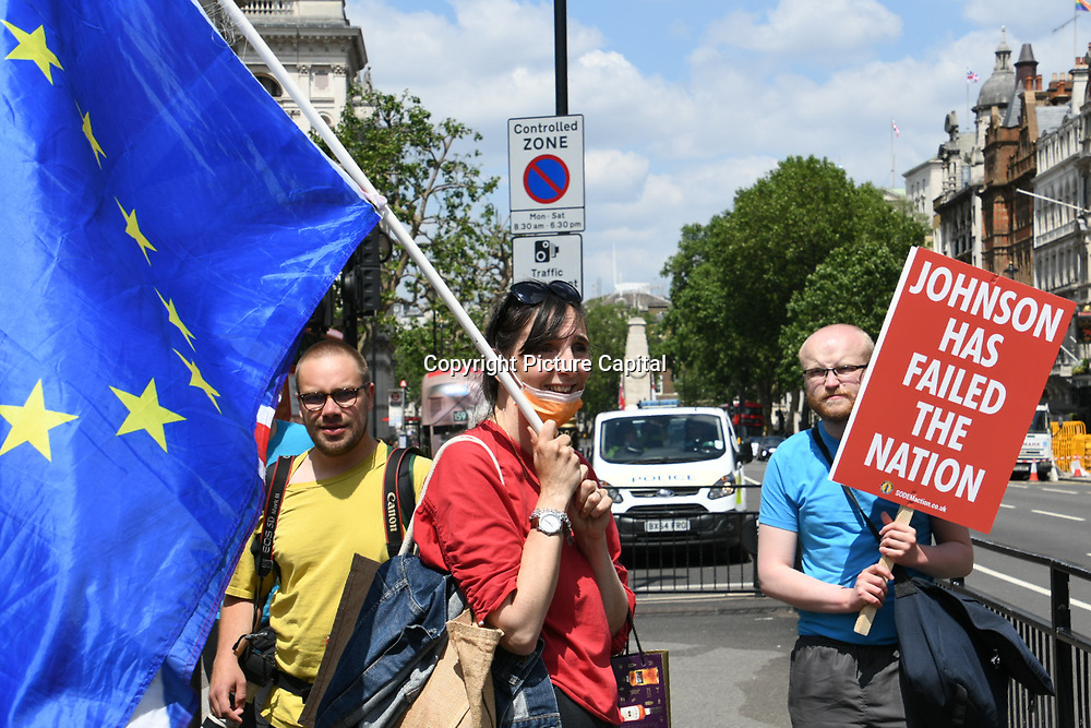 Protest of the 5th anniversary of the referendum in UK. Protestors are hoping UK will rejoin EU again at Parliament square on 23th June 2021, London, UK.
