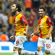 Galatasaray's Selcuk INAN (L) celebrate his goal during their Turkish Super League soccer match Galatasaray between Samsunspor at the Turk Telekom Arena at Seyrantepe in Istanbul Turkey on Sunday, 18 September 2011. Photo by TURKPIX