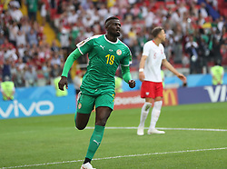 MOSCOW, June 19, 2018  Mbaye Niang (front) of Senegal celebrates scoring during a Group H match between Poland and Senegal at the 2018 FIFA World Cup in Moscow, Russia, June 19, 2018. (Credit Image: © Fei Maohua/Xinhua via ZUMA Wire)