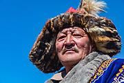 Portrait of Kazakh eagle hunter, Altai Mountains, Bayan Ulgii, Mongolia