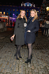 Left to right, GRETA BELLAMACINA and AMBER ATHERTON at Skate at Somerset House in association with Fortnum & Mason held on 10th November 2014.