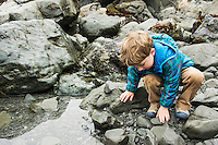 Toddler boy explores tide pool at Patrick's Point State Park, California.