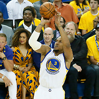 01 June 2017: Golden State Warriors forward David West (3) takes a jump shot during the Golden State Warriors 113-90 victory over the Cleveland Cavaliers, in game 1 of the 2017 NBA Finals, at the Oracle Arena, Oakland, California, USA.