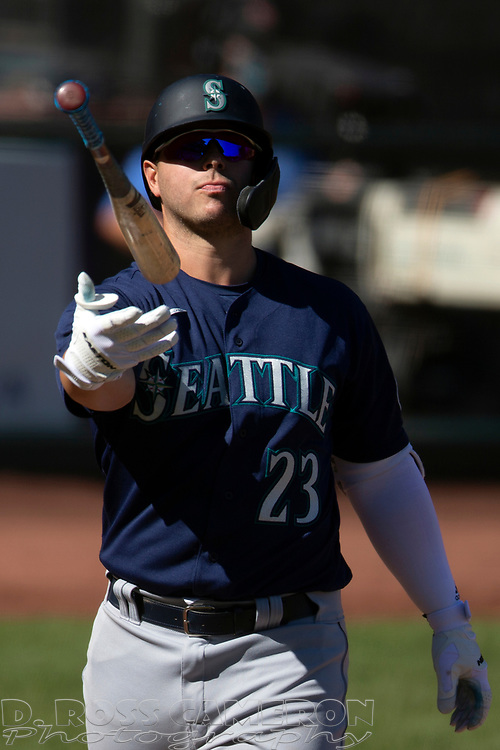 Seattle Mariners' Ty France (23) reacts to being called out on strikes during the sixth inning of a Major League Baseball game against the San Francisco Giants, Thursday, Sept. 17, 2020 in San Francisco. This is a makeup of a postponed game from Wednesday in Seattle. (AP Photo/D. Ross Cameron)