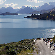 Cyclists head along the Glenorchy to Queenstown road heading to Moke Lake on the final stage of the The Vital Signs Tour de Lakes. The event started in Cromwell on Good Friday travelling through Fiordland and Glenorchy.  The open event was won by Southland Cyclist Gordon McCauley. The event was part of the inaugural Queenstown Bike Festival, which took place from 16th-25th April. The event hopes to highlight Queenstown's growing profile as one of the three leading biking centres in the world. Queenstown, Central Otago, New Zealand. 25th April 2011. Photo Tim Clayton..