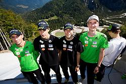 Dejan Judez, Nejc Dezman, Jurij Tepes, Mitja Meznar and Jaka Hvala at media day of Slovenian Ski jumping team during construction of two new ski jumping hills HS 135 and HS 105, on September 18, 2012 in Planica, Slovenia. (Photo By Vid Ponikvar / Sportida)