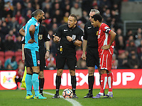 Fleetwood Town's Nathan Pond and Bristol City's Korey Smith during the coin toss <br /> <br /> Photographer Ashley Crowden/CameraSport<br /> <br /> Emirates FA Cup Third Round - Bristol City v Fleetwood Town - Saturday 7th January 2017 - Ashton Gate - Bristol<br />  <br /> World Copyright © 2017 CameraSport. All rights reserved. 43 Linden Ave. Countesthorpe. Leicester. England. LE8 5PG - Tel: +44 (0) 116 277 4147 - admin@camerasport.com - www.camerasport.com