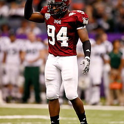 December 18, 2010; New Orleans, LA, USA; Troy Trojans defensive end Jonathan Massaquoi (94) against the Ohio Bobcats during the 2010 New Orleans Bowl at the Louisiana Superdome. Troy defeated Ohio 48-21. Mandatory Credit: Derick E. Hingle