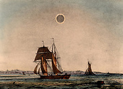 Annular eclipse of the Sun, caused by the Moon passing between the Earth and the Sun at a distance which makes the Moon cast a shadow smaller than the Sun's disk. From 'The Beauty of the Heavens' by Charles F Blount (London, 1845). Coloured lithograph.