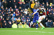 George Boyd of Burnley tries a shot at goal. Premier league match, Burnley v Chelsea at Turf Moor in Burnley, Lancs on Sunday 12th February 2017.<br /> pic by Chris Stading, Andrew Orchard Sports Photography.