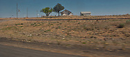 a lone farmhouse in flat rural west Texas along interstate 20 panorama