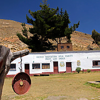 South America, Bolivia, Pariti. Local school on Pariti Island.