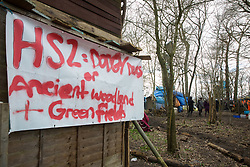 Steeple Claydon, UK. 23 February, 2021. A section of Poors Piece Conservation Project is pictured during an operation by National Eviction Team bailiffs acting on behalf of HS2 Ltd to evict activists opposed to the HS2 high-speed rail link from ancient woodland known as Poors Piece. The activists created the Poors Piece Conservation Project there in spring 2020 after having been invited to stay on the land by its owner, farmer Clive Higgins. Already, local village communities have been hugely impacted by HS2, with 550 acres of land seized including a large section of a nature reserve.
