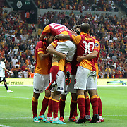 Galatasaray's celebrates his goal, Sercan Yildirim, Burak Yilmaz, Albert Riera Ortega, Emre Colak Felipe Melo (L-R) during their Turkish Super League soccer match Galatasaray between Akhisar Belediyespor at the TT Arena at Seyrantepe in Istanbul Turkey on Sunday 23 September 2012. Photo by TURKPIX