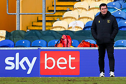 Mansfield Town manager Nigel Clough stands next to a Sky Bet advertising board - Mandatory by-line: Ryan Crockett/JMP - 20/02/2021 - FOOTBALL - One Call Stadium - Mansfield, England - Mansfield Town v Cambridge United - Sky Bet League Two