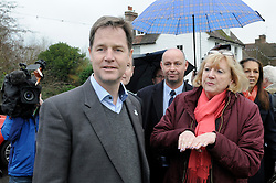 © Licensed to London News Pictures. 02/12/2014 <br /> Nick Clegg with Geraldine Brown (Chairman of Yalding Parish Council)<br /> The deputy prime minister Nick Clegg has been in Yalding in Kent today (02.12.2014) to annouce funding for flood defences in the village. This comes a year after the Kent town was severly flooded last Christmas.<br /> (Byline:Grant Falvey/LNP)
