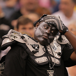 2008 October, 12: A Oakland Raiders fan in the stands during a week six regular season game between the Oakland Raiders and the New Orleans Saints at the Louisiana Superdome in New Orleans, LA.