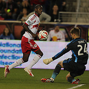 Tyler Deric, Houston Dynamo, save s a shot from Bradley Wright-Phillips, New York Red Bulls, during the New York Red Bulls Vs Houston Dynamo, Major League Soccer regular season match at Red Bull Arena, Harrison, New Jersey. USA. 4th October 2014. Photo Tim Clayton