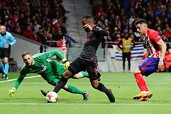 MADRID, May 4, 2018  Arsenal's Alexandre Lacazette (C) competes during the UEFA Europa League semifinal second leg soccer match between Atletico Madrid and Arsenal in Madrid, Spain, on May 3, 2018. Atletico Madrid won 1-0. Atletico Madrid advanced to the final with 2-1 on aggregate. (Credit Image: © Edward Peters Lopez/Xinhua via ZUMA Wire)