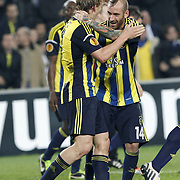 Fenerbahce's Dirk Kuijt (L) celebrate his goal with team mate during their UEFA Europa League Quarter Final first match Fenerbahce between Lazio at Sukru Saracaoglu stadium in Istanbul Turkey on Thursday 04 April 2013. Photo by Aykut AKICI/TURKPIX