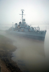 23 March 2014. Baton Rouge, Louisiana.<br /> Revealed in the mists of time - the WW2 USS Kidd (DD-661) Fletcher Class destroyer.<br /> Photo; Charlie Varley/varleypix.com