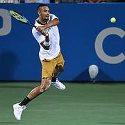 NICK KYRGIOS hits a backhand at the Rock Creek Tennis Center.