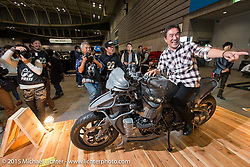 "In the BMW booth with Hot Dock Customs Keiji Kawakita with his custom 2015 BMW K1600GTL ""Juggernaut"" at the Mooneyes Yokohama Hot Rod & Custom Show. Yokohama, Japan. December 6, 2015.  Photography ©2015 Michael Lichter."