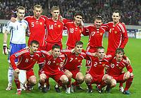 Fotball<br /> Foto: imago/Digitalsport<br /> NORWAY ONLY<br /> <br /> 15.10.2008 <br /> <br /> Lagbilde Russland<br /> <br /> Mannschaftsfoto Russland, hi. v. li.: Torwart Igor Akinfeev, Vasiliy Berezutskiy, Pavel Pogrebnyak, Yuriy Zhirkov, Konstantin Zyryanov, Sergei Ignashevich, vorn: Sergey Semak, Igor Semshov, Igor Denisov, Aleksandr Anyukov und Andrey Arshavin