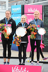 March 10, 2019 - London, United Kingdom - Stephanie Tweel, Charlotte Purdue and Charlotte Arter are seen posing with their awards after running The Vitality Big Half, which has returned for a festival of running and culture to the heart of London in a celebration of the rich and wonderful diversity of the capital city and Finishing it at Cutty Sark. (Credit Image: © Terry Scott/SOPA Images via ZUMA Wire)