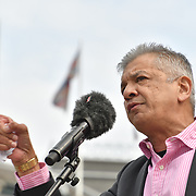 London, UK. 1st May, 2019.  Speaker Unmesh Desai is a British Politician of Newham anti-racist and anti-facist at The annual May Day rally in Trafalgar Square on May 1st, 2019 in London.
