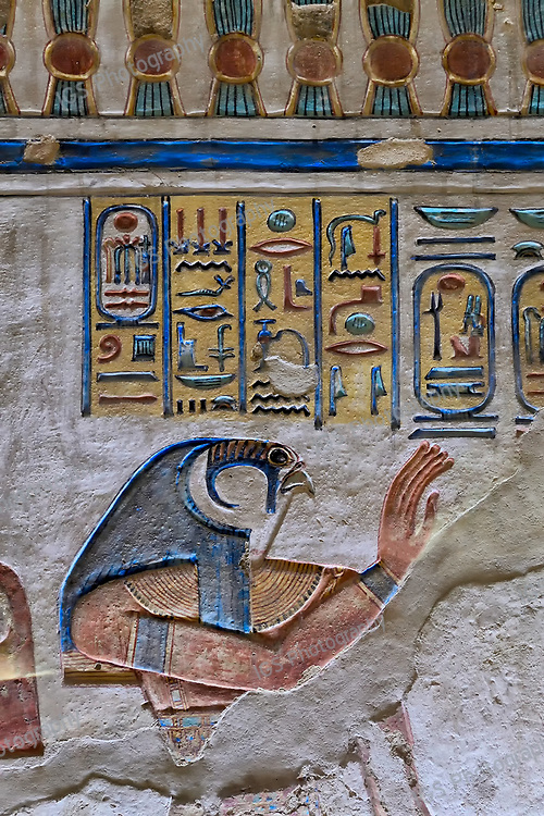 Relief on the walls of the tomb of Amun-Her-Khopshef depicting a profile of Horus