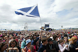 Fans wave a Saltire Scottish flag as James Morrison plays on the main stage at T in the Park Saturday 7 July, 2007, at Balado, Fife...