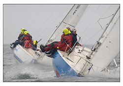 The second days racing at the Bell Lawrie Yachting Series in Tarbert Loch Fyne ...Strong winds, high seas and heavy rain dominated the day...Winning Sonata GBR8217N So..