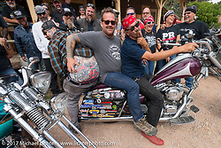 Bobby Seeger having fun with Bean're and Darren McKeag on a stop at the Nemo Guest Ranch on Aidan's Ride to raise money for the Aiden Jack Seeger nonprofit foundation to help raise awareness and find a cure for ALD (Adrenoleukodystrophy) during the annual Sturgis Black Hills Motorcycle Rally. Nemo, SD, USA. Tuesday August 8, 2017. Photography ©2017 Michael Lichter.