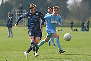 Leeds United forward Niklas Haughland scores a goal 1-0 during the U18 Professional Development League match between Coventry City and Leeds United at Alan Higgins Centre, Coventry, United Kingdom on 13 April 2019.