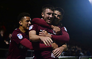 Chris Long of Northampton Town © celebrates with his team mates after he scores his teams 1st goal to put his side 1-0 up. EFL Skybet Football League one match, Northampton Town v Portsmouth at the Sixfields Stadium in Northampton on Tuesday 12th September 2017. <br /> pic by Bradley Collyer, Andrew Orchard sports photography.