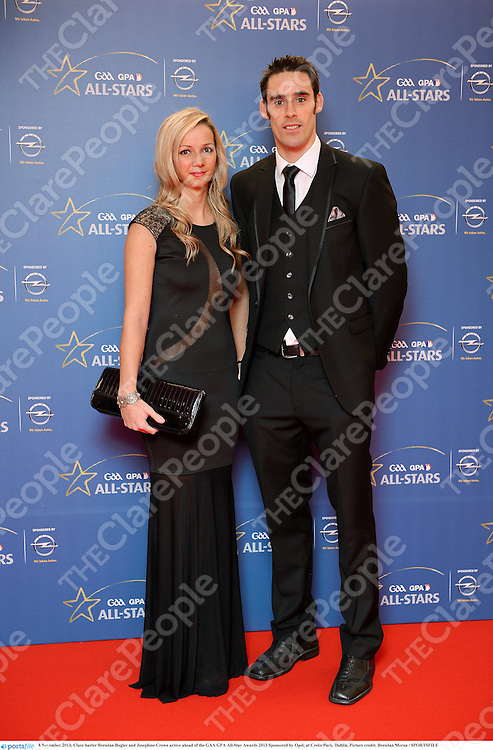 8 November 2013; Clare hurler Brendan Bugler and Josephine Crowe arrive ahead of the GAA GPA All-Star Awards 2013 Sponsored by Opel, at Croke Park, Dublin. Picture credit: Brendan Moran / SPORTSFILE