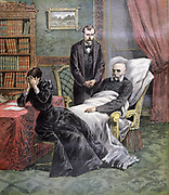 Death of Jules Ferry (1832-1893) in his armchair.  Ferry 44th and 49th Prime Minister of France 1880-1881, 1883-1885, is said to have died of 1887 assassination attempt. From 'Le Petit Journal', Paris, 1 April 1893. French, Politician