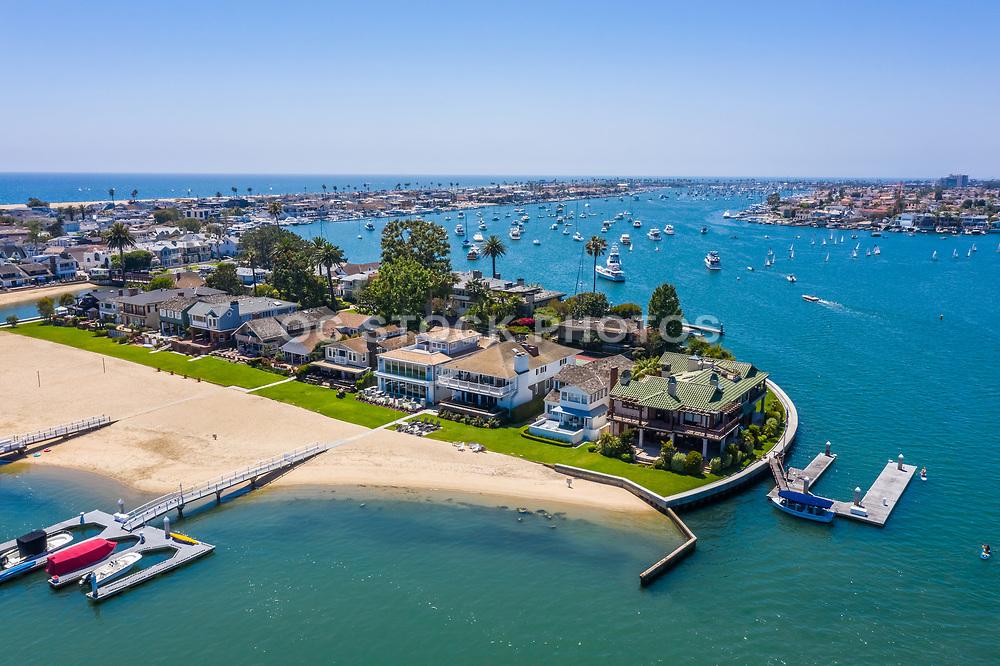 Aerial View of Bay Island Newport Beach